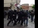 French police beat protesters up