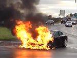 Tesla car catches fire after hitting truck in Moscow