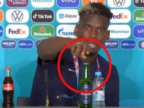 Pogba basın toplantısında önündeki birayı kaldırdı