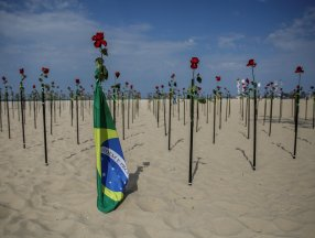 Copacabana Plajı'na koronavirüsten ölenlerin anısına 500 gül dikildi