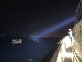 Aydın açıklarında geri itilen 14 göçmen kurtarıldı