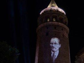 Galata Kulesi'nde ışık gösterisi yapıldı